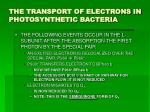 the transport of electrons in photosynthetic bacteria