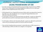 current supply chain management scm framework of em