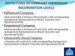 definitions of company ownership recordnition levels