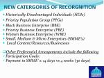 new catergories of recorgnition