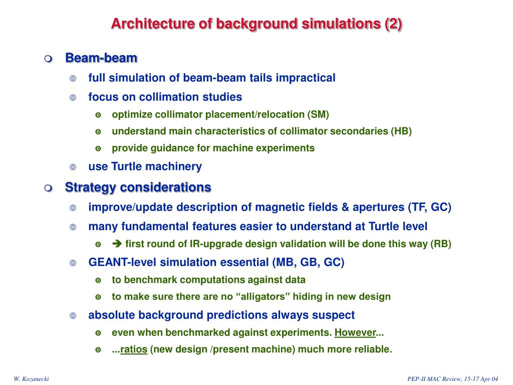 Architecture of background simulations (2)