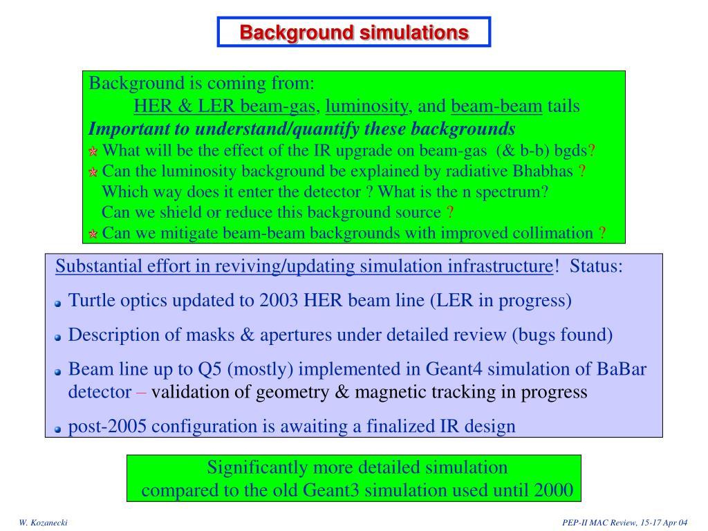 Background simulations