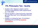 itil philosophy two quality