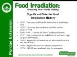 significant dates in food irradiation history