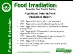 significant dates in food irradiation history6