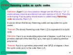 hamming codes as cyclic codes