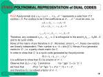 polynomial representation of dual codes1