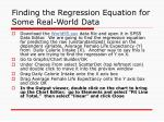 finding the regression equation for some real world data