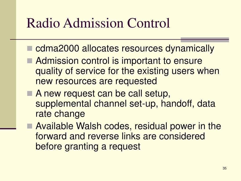 Radio Admission Control