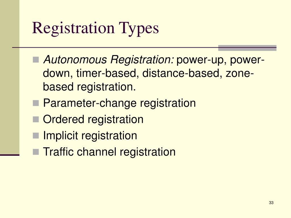 Registration Types