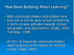 how does bullying affect learning