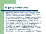 shipping instructions
