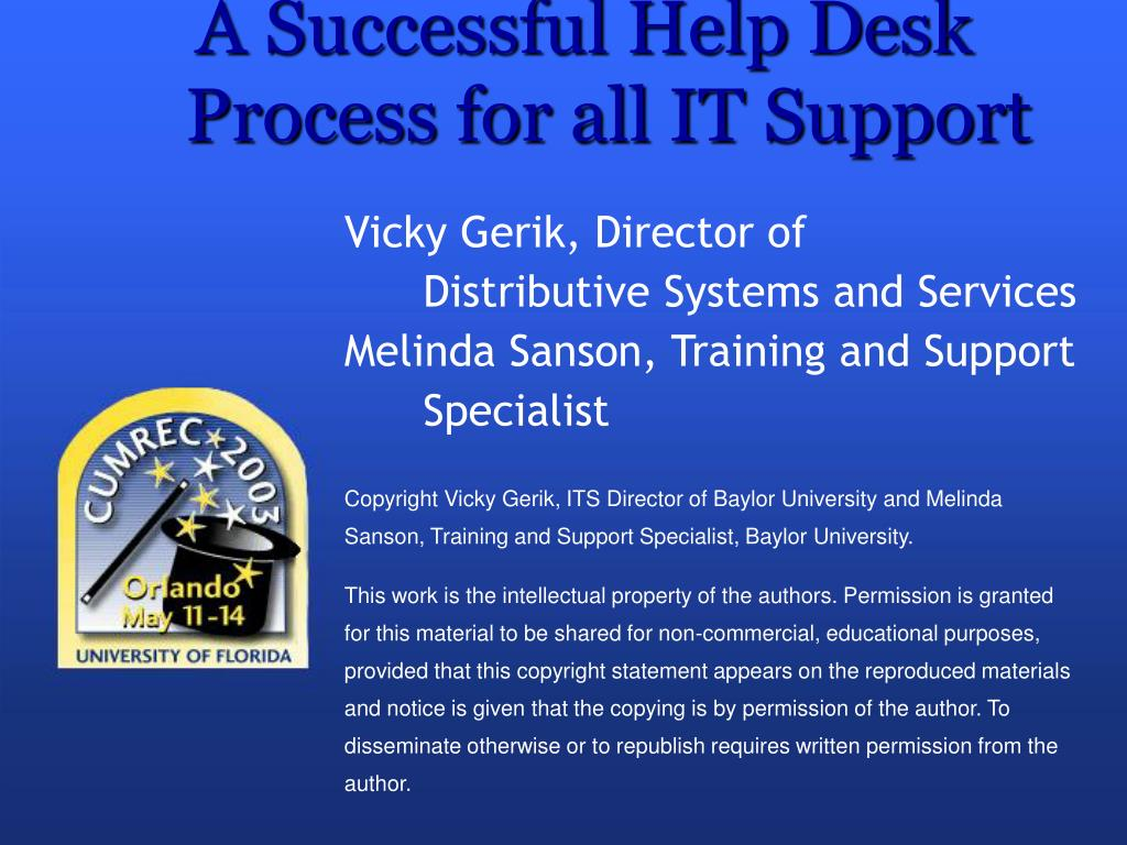 a successful help desk process for all it support l.