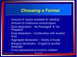 choosing a format