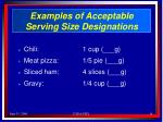 examples of acceptable serving size designations