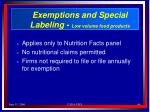 exemptions and special labeling low volume food products