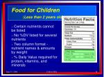 food for children less than 2 years old
