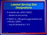labeled serving size designations17