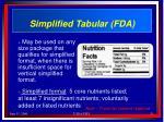 simplified tabular fda