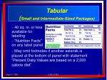 tabular small and intermediate sized packages