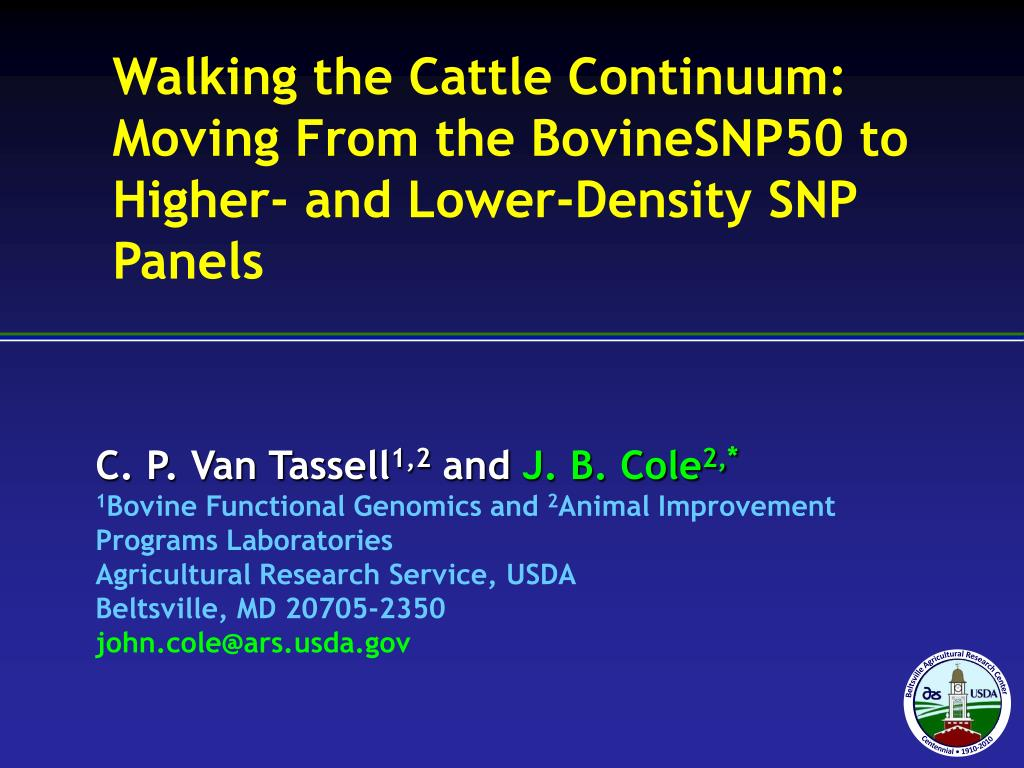 walking the cattle continuum moving from the bovinesnp50 to higher and lower density snp panels l.