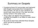 summary on gospels