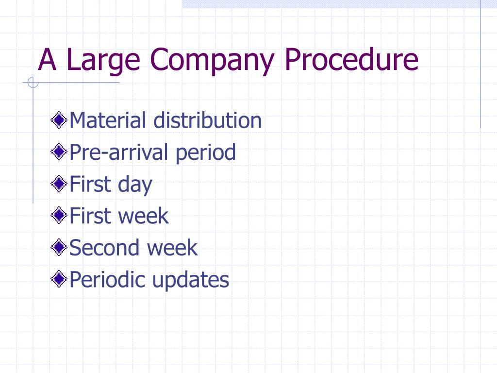 A Large Company Procedure