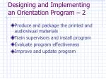 designing and implementing an orientation program 2