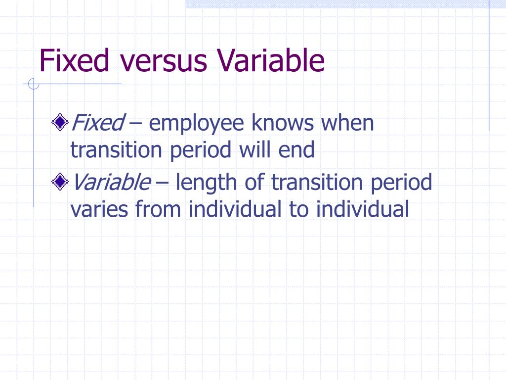 Fixed versus Variable