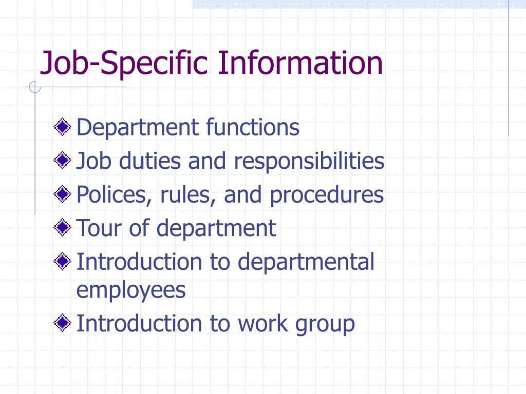 Job-Specific Information