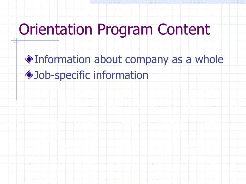 Orientation Program Content