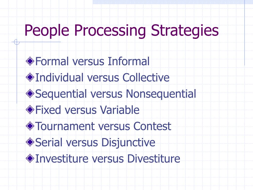 People Processing Strategies