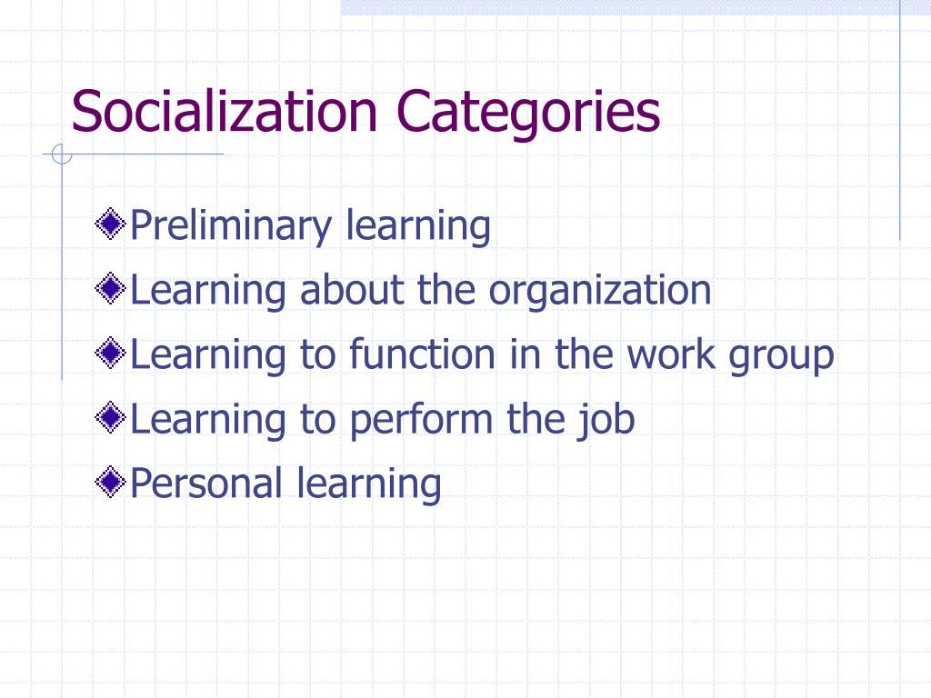 Socialization Categories