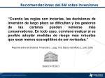 recomendaciones del bm sobre inversiones