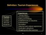 definition tourism experiences