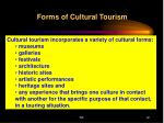 forms of cultural tourism