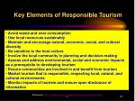 key elements of responsible tourism