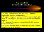 key objectives environmental objectives