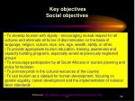 key objectives social objectives
