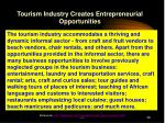 tourism industry creates entrepreneurial opportunities