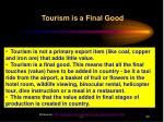 tourism is a final good