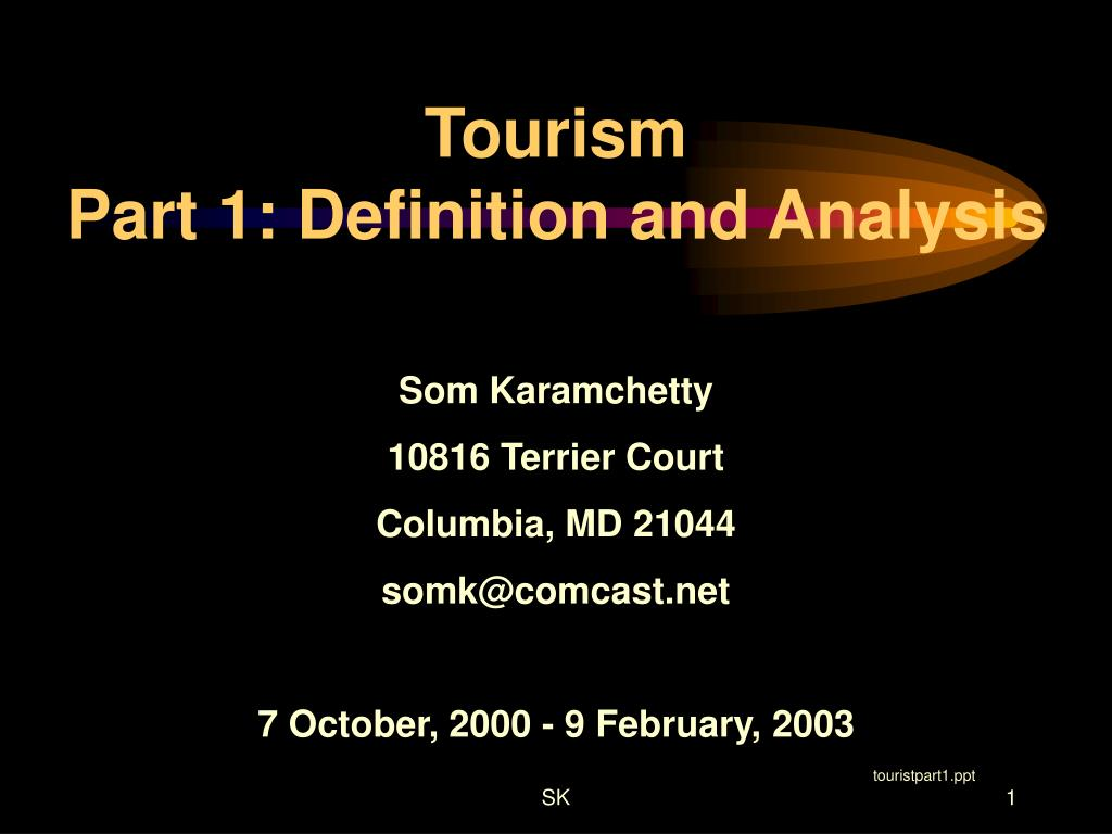 tourism part 1 definition and analysis l.