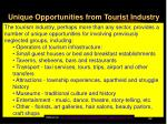 unique opportunities from tourist industry