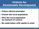 criteria for sustainable development