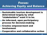 focus achieving equity and balance