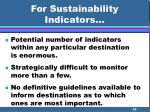 for sustainability indicators