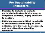for sustainability indicators46