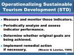 operationalizing sustainable tourism development std42