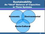 sustainability an ideal balance of capacities in three systems