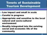 tenets of sustainable tourism development